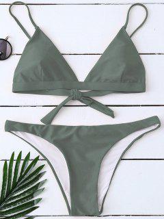 Padded Back Tied Bikini Swimwear - Army Green L