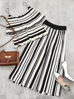 Tiered Flounce Striped Top And Pants Set - Black Stripe L