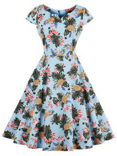 Pineapple Print A Line Plus Size Vintage Dress - Light Blue 2xl