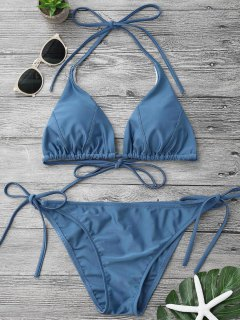Adjustable Self Tie String Bikini Set - Blue L