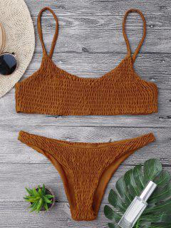 Smocked Bikini Top And Bottoms - Brown L