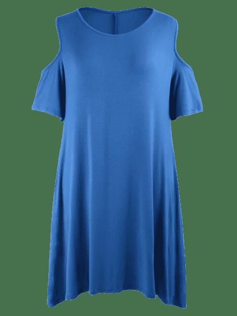 Robe à taille grande à épaules tombantes à style casual - Bleu 4XL Mobile