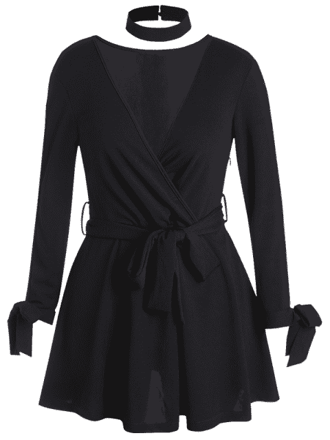 latest Plus Size Belted Split Sleeve Surplice Dress - BLACK XL Mobile
