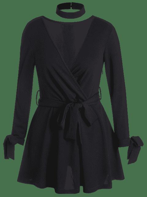 Robe ceinturée cache-cœur grande taille à manche fendue - Noir 2XL Mobile