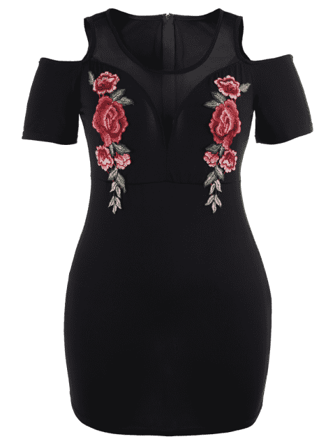 hot Floral Embroidered Plus Size Cold Shoulder Dress - BLACK 3XL Mobile