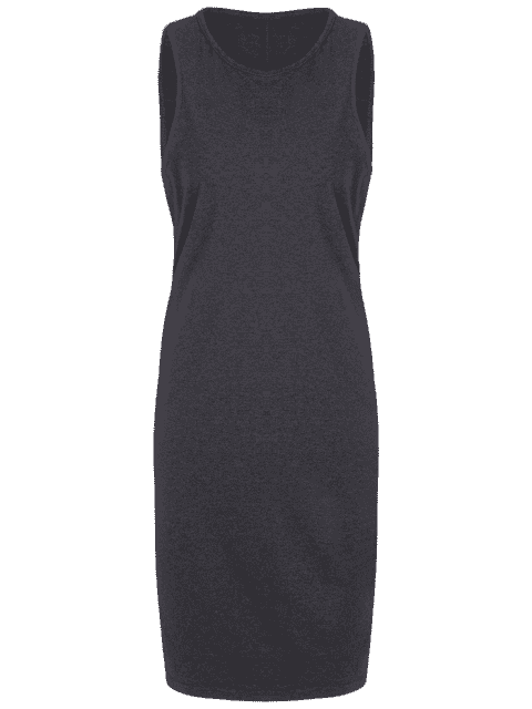 fashion Plus Size Casual Tank Dress - DEEP GRAY 4XL Mobile