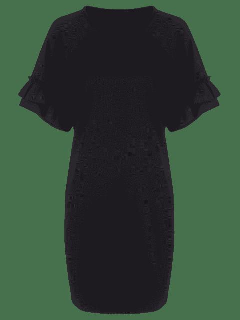 women's Plus Size Ruffles Mini Dress - BLACK 5XL Mobile