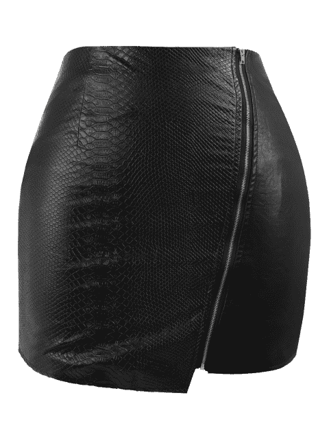 outfit PU Leather Asymmetrical Plus Size Skirt - BLACK 2XL Mobile