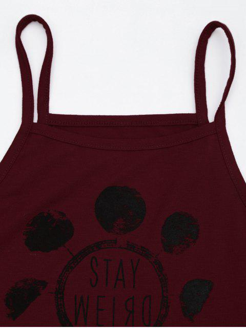 lady Graphic Side Ladder Cut Crop Top - BURGUNDY XL Mobile