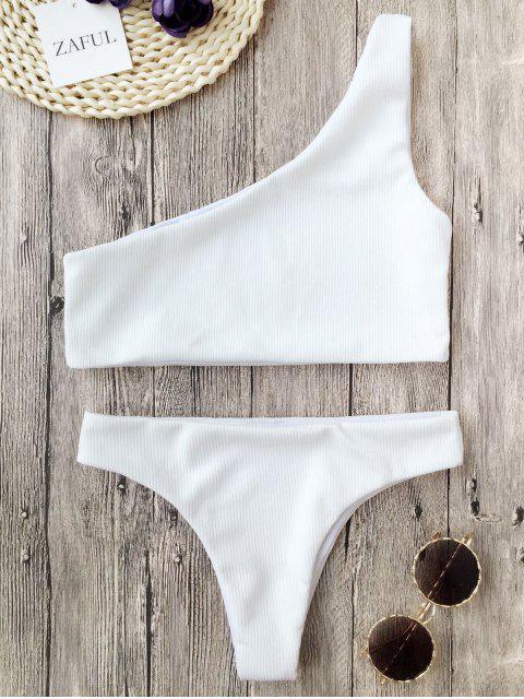 women Ribbed Texture One Shoulder Bikini - WHITE M Mobile
