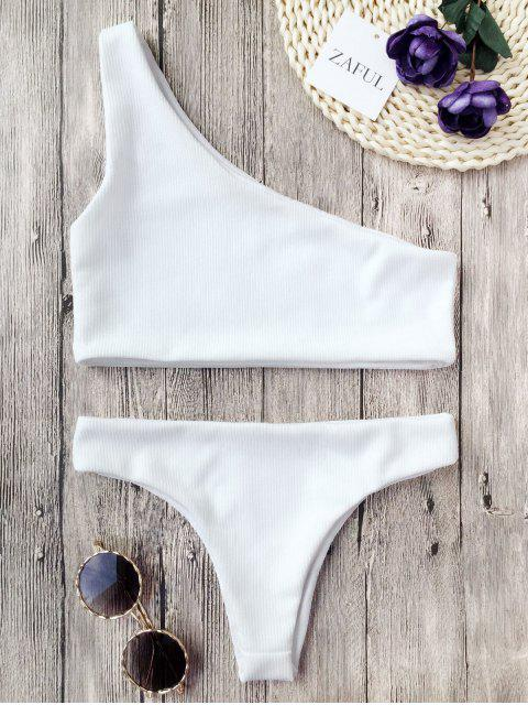 women Ribbed Texture One Shoulder Bikini - WHITE M Mobile