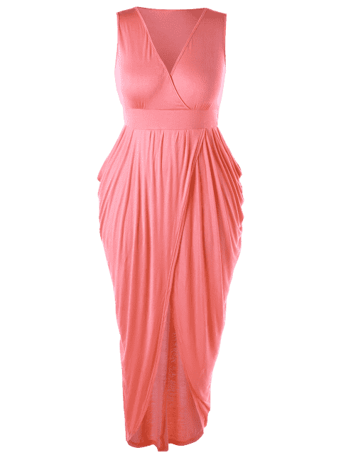 fancy Plus Size Ruched Maxi Surplice Drape Dress - ORANGEPINK 5XL Mobile
