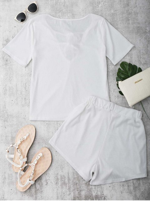 outfit Tie Front Plunge Shorts Set Beach Cover Up - WHITE XL Mobile