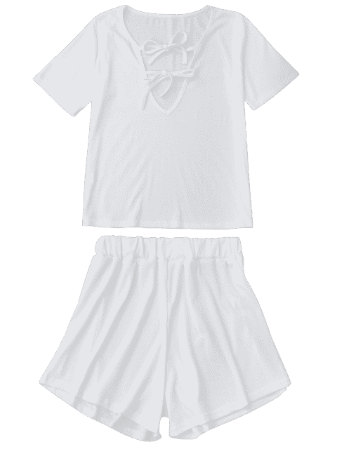 outfits Tie Front Plunge Shorts Set Beach Cover Up - WHITE L Mobile
