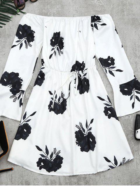 Vestido de manga larga con estampado floral - Negro L Mobile
