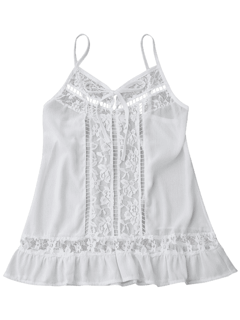 Lace Chiffon Beach Cover Up Cami Top - Blanc M Mobile