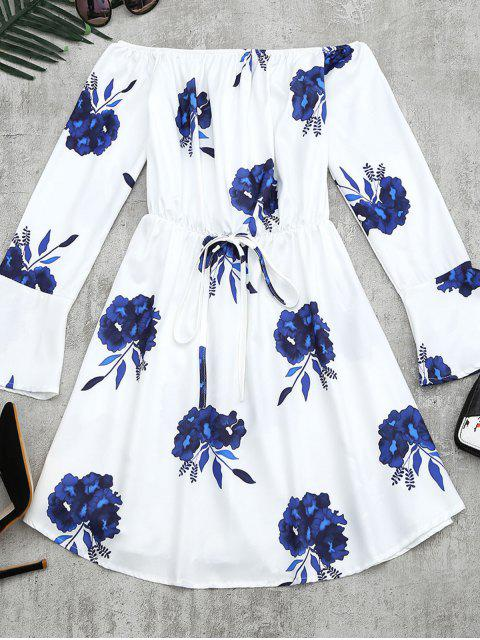buy Floral Print Long Sleeve Dress - BLUE L Mobile