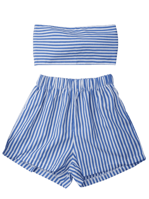Knot Bandeau Shorts Set Beach Cover Up - Bleu et Blanc XL Mobile