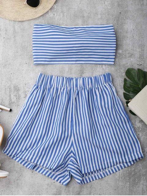 Knot Bandeau Shorts Set Beach Cover Up - Bleu et Blanc L Mobile