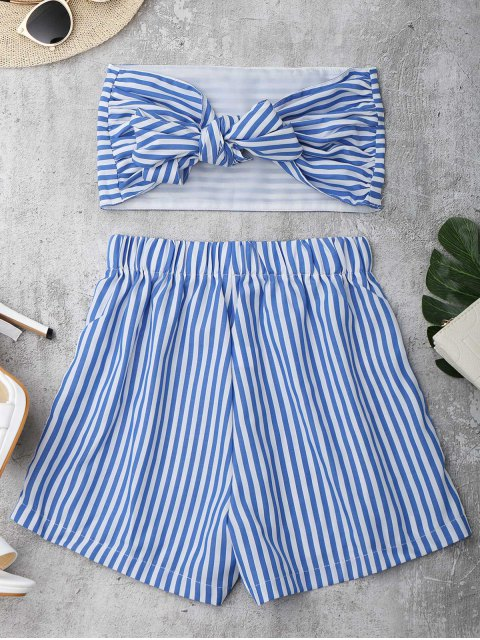 new Knot Bandeau Shorts Set Beach Cover Up - BLUE AND WHITE M Mobile