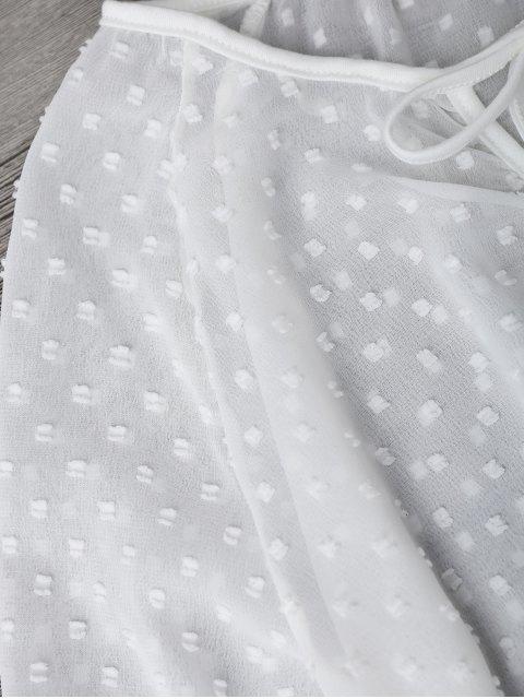 hot Semi Sheer Plumetis Bell Sleeve Beach Top - WHITE XL Mobile