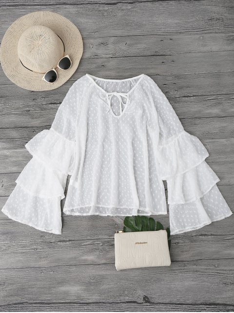 outfit Semi Sheer Plumetis Bell Sleeve Beach Top - WHITE L Mobile