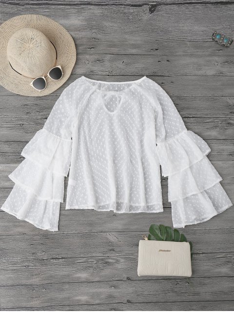 outfits Semi Sheer Plumetis Bell Sleeve Beach Top - WHITE M Mobile