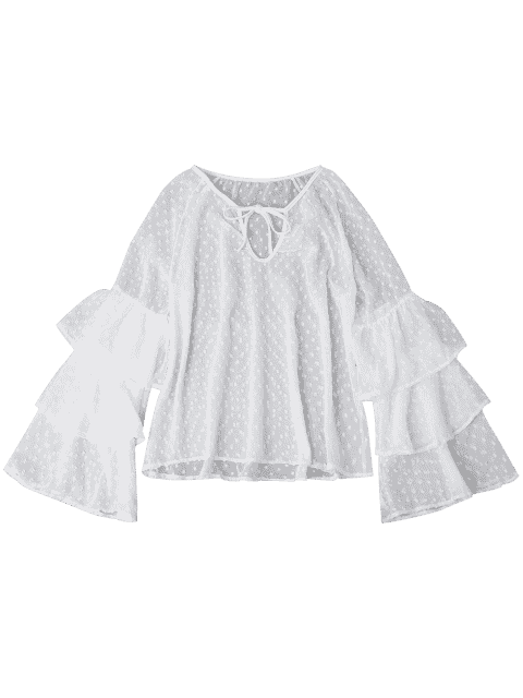 Top Sheppe Plumetis Bell Sleeve Top - Blanc S Mobile
