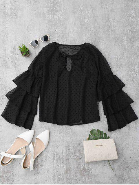 fashion Semi Sheer Plumetis Bell Sleeve Beach Top - BLACK S Mobile