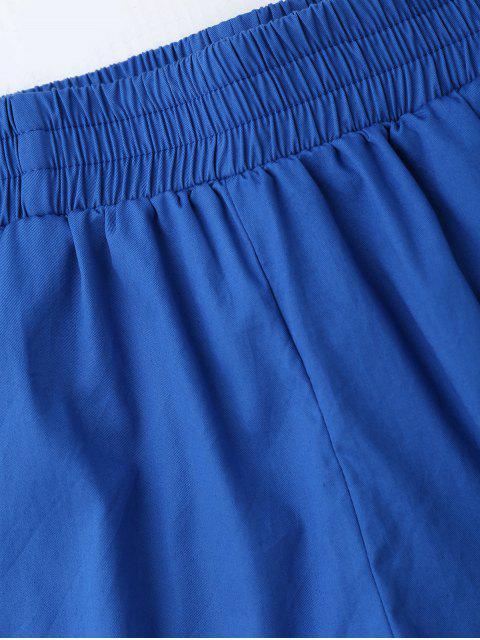 Shorts décontractés à haute taille - Bleu L Mobile