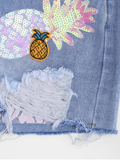 online Patched Pineapple Sequined Ripped Denim Shorts - DENIM BLUE ONE SIZE Mobile