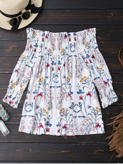 outfits Floral Print Ruffle Hem Blouse - WHITE S Mobile