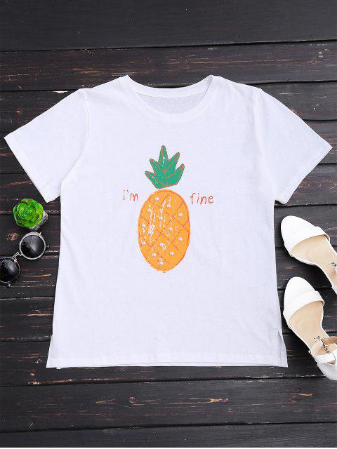 trendy Pineapple Print Rhinestone T-shirt - WHITE ONE SIZE Mobile