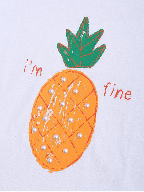 T-shirt en strass anti-ananas - Blanc TAILLE MOYENNE Mobile