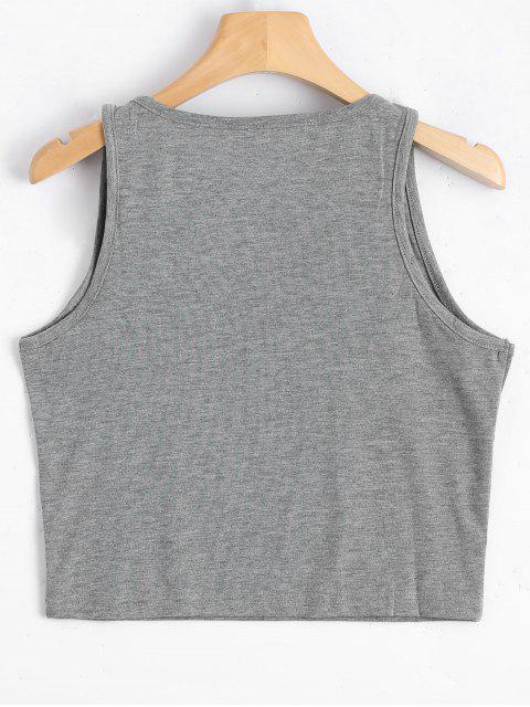 outfits Graphic Always Hungry Cropped Tank Top - GRAY L Mobile