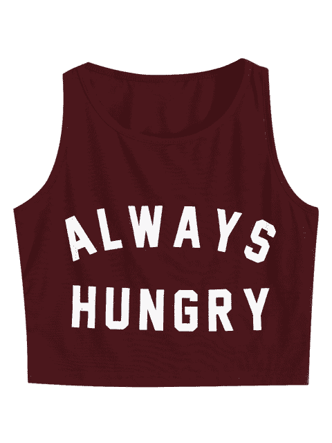 affordable Graphic Always Hungry Cropped Tank Top - WINE RED M Mobile