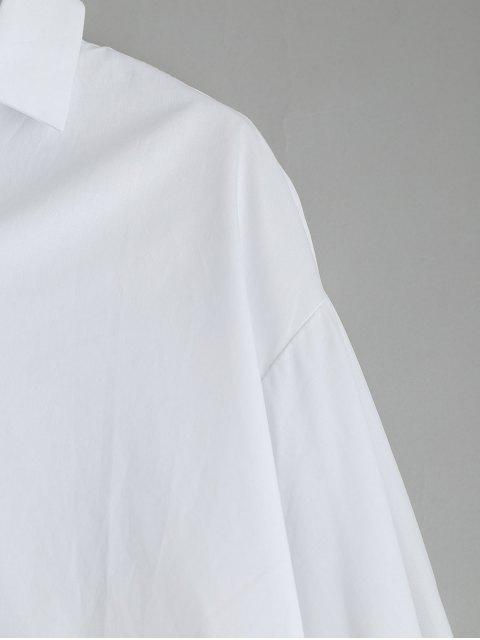 sale Self Tie Flare Sleeve High Low Blouse - WHITE XL Mobile