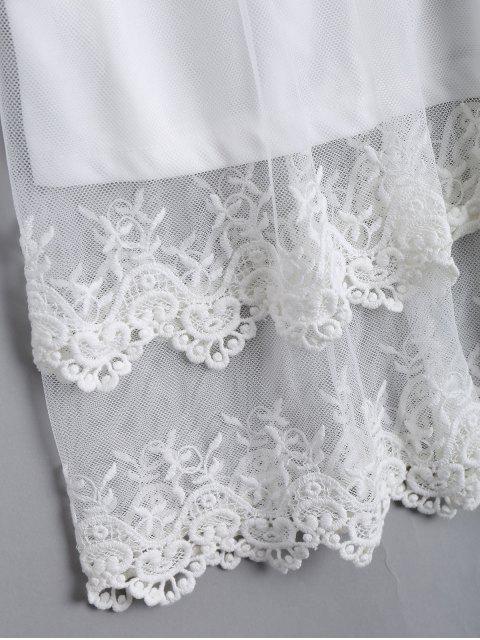 women Lace Panel Longline Blouse - WHITE XL Mobile
