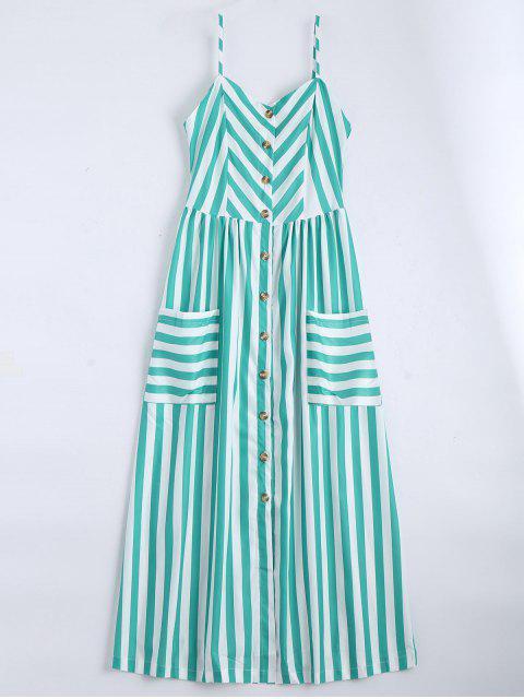 women's Button Up Striped Cami Dress - LAKE GREEN S Mobile