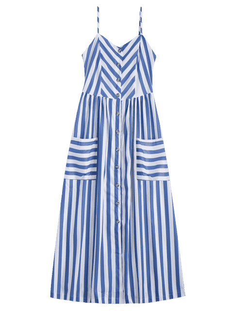 Cami Robe Boutonnée à Rayures avec Poches - RAL5000 Violet Bleu S Mobile