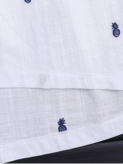 unique Drawstring Pineapple Embroidered Cutout Shirt Dress - WHITE L Mobile