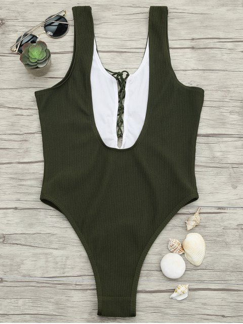 women Textured Lacing High Cut One Piece Swimsuit - ARMY GREEN S Mobile