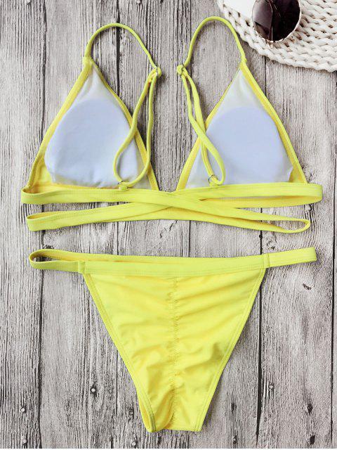 ladies Banded Padded V String Bikini Set - FLUORESCENT YELLOW L Mobile