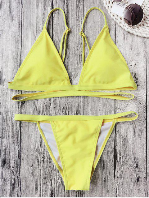 Schnürung Gepolsterter V String Bikini Set - Fluoreszierend Gelb S Mobile