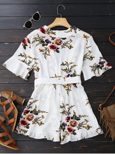 outfit Bell Sleeve Floral Plunging Neck Romper - WHITE XL Mobile