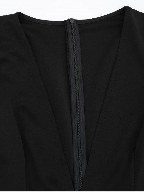 latest Plunging Neck Long Sleeves Pocket Romper - BLACK XL Mobile