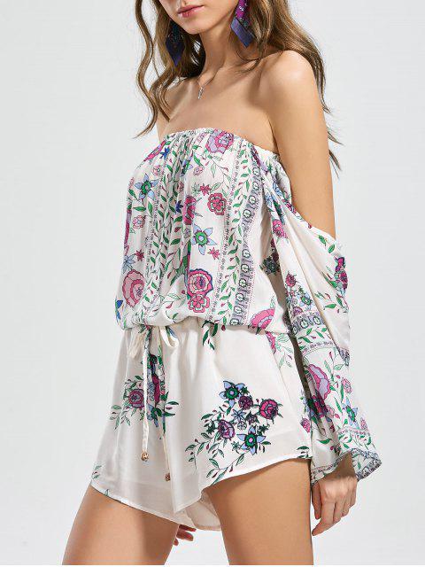 chic Floral Belted Off Shoulder Romper - FLORAL S Mobile
