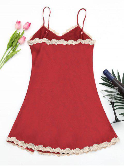 new Shiny Satin Slip Dress - RED L Mobile