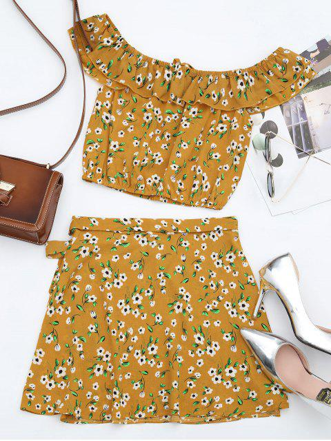 Floral Off Shoulder Top et Wrap Mini Skirt - Orange Jaune L Mobile