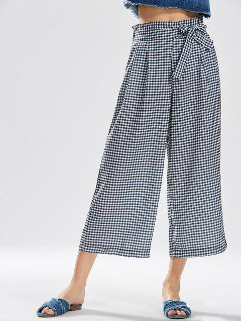 best Checked Bowknot Wide Leg Pants - CHECKED L Mobile